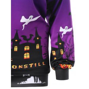 Sweat-shirt Halloween Graphique Encolure Cloutée Grande Taille - Pourpre XL