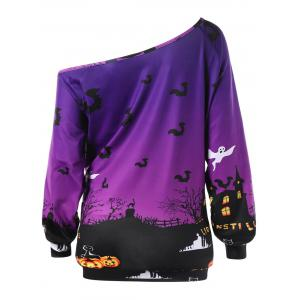 Sweat-shirt Halloween Graphique Encolure Cloutée Grande Taille -