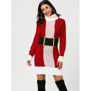 Red One Size Christmas Turtleneck Mini Tight Sweater Dress ...