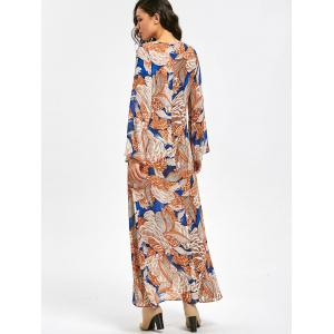Plant Print Long Flared Sleeve Maxi Dress - FLORAL M