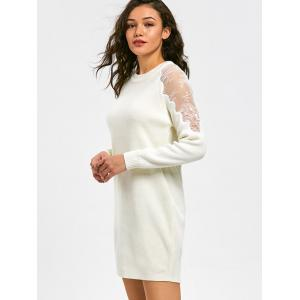 Lace Panel Long Sleeve Short Sweater Dress - WHITE L