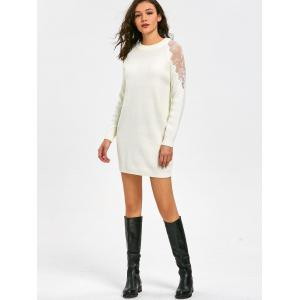 Lace Panel Long Sleeve Short Sweater Dress - WHITE XL