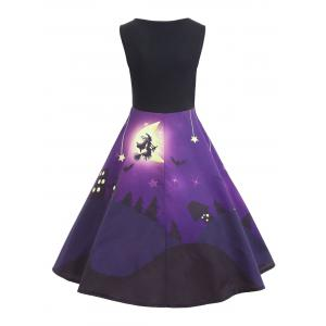 Castle Bat Vintage A Line Halloween Dress -