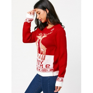 Little Fawn Kiss Pattern Christmas Pullover Sweater -