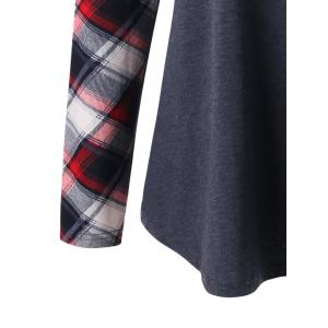 Plus Size Raglan Sleeve Plaid T-shirt -