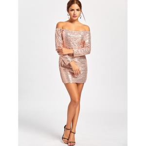 Scoop Neck Sequined Mini Glittery Dress -