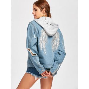 Wing Embroidery Distressed Denim Hooded Jacket -