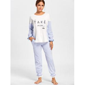 Frill Trim Striped Cotton Pajamas Set -