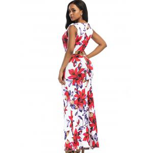 Floral Print Plunging Belted Slit Maxi Dress -