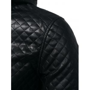 Rhombus Embossing Color Block PU Leather Jacket -