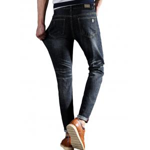 Slim Fit Zipper Fly Owl Embroidery Jeans -