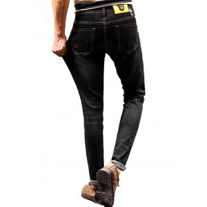 Graphic Print Zip Fly Tapered Jeans -