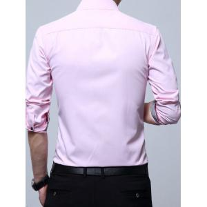 Chest Pocket Long Sleeve Basic Business Shirt -