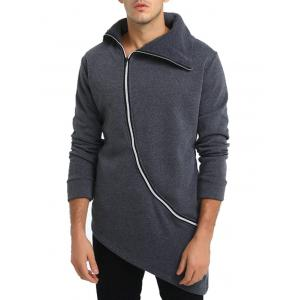 Oblique Zip Up Asymmetrical Longline Hoodie -