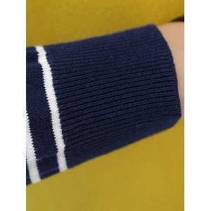 Faux Pocket Stripe Color Block Sweater -