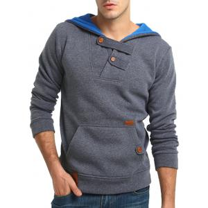 Color Block Hooded Buttons Fleece Hoodie -