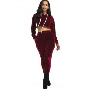 Velvet Cropped Drawsring Hoodie and Pants Suit -