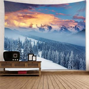 Hanging Snow Mountains Forest Pattern Wall Decor Tapestry -