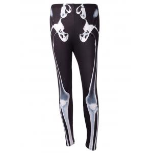 Skeleton Print High Waisted Halloween Leggings -