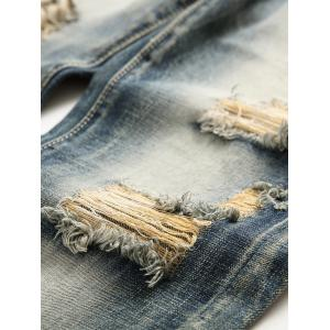 Faded Wash Slim Fit Ripped Jeans -