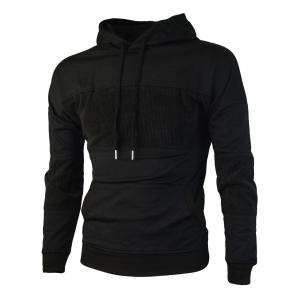 Chest Embroidery Corduroy Panel Pullover Hoodie -