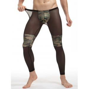 Voile Camouflage Panel Convex Pouch Underpants -