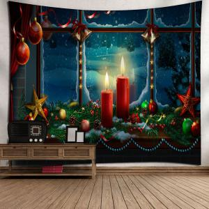 Waterproof Romantic Christmas Candles Pattern Wall Art Tapestry -