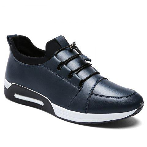 Low Top Faux Leather Casual Shoes Bleu 39