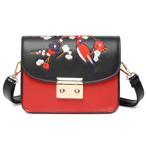 Online Bird Embroidery Flower Crossbody Bag