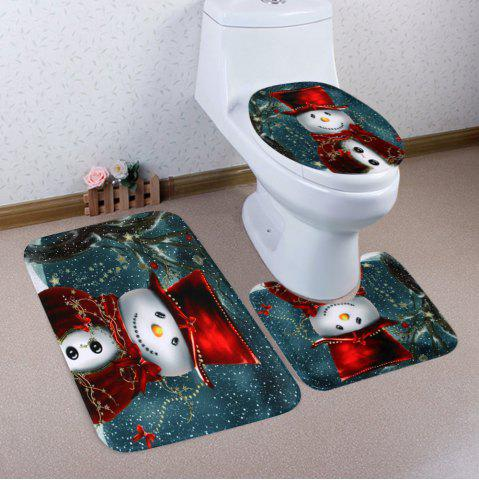 Ensemble de toilette mat de bain de 3 pcs Multicolore