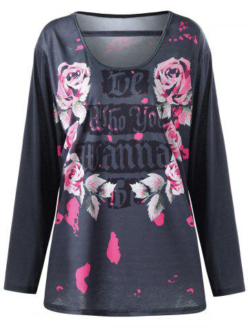 Hot Plus Size Floral Letter Long Sleeve Top SMOKY GRAY XL