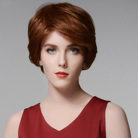 Shop Siv Hair Elegant Short Capless Shaggy Wavy Side Bang  Human Hair Wig - AUBURN BROWN #30  Mobile