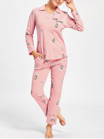 Hot Pineapple Print Sleeved Cotton PJ Set - XL PINK Mobile