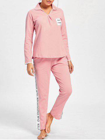 Cheap Letter Graphic V Neck Pajamas Set LIGHT PINK L