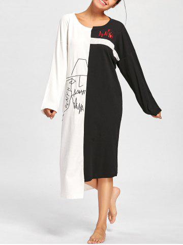 New Asymmetric Two Tone Oversized PJ Dress BLACK WHITE L