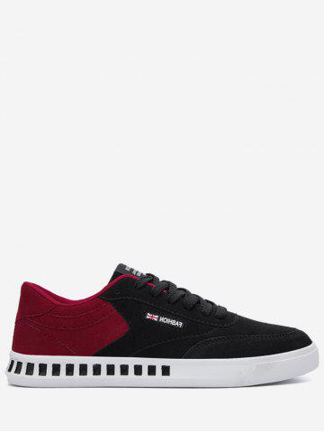 Shop Color Block Stitching Letter Skate Shoes - 43 RED WITH BLACK Mobile