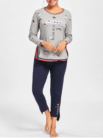 Discount Long Sleeve Printed PJ Set with Slit GRAY XL