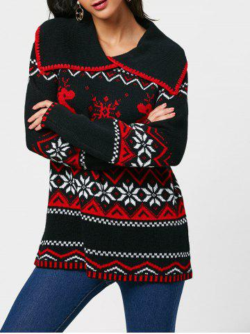 Discount Christmas Reindeer Snowflake Turn Down Collar Sweater - ONE SIZE BLACK Mobile