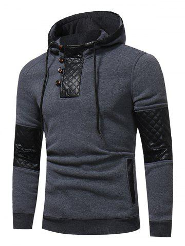 Sale PU Leather Panel Fleece Pullover Hoodie DEEP GRAY 3XL