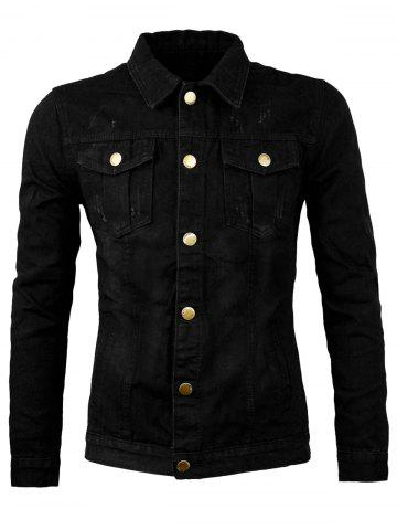 Fancy Button Allover Scratch Denim Jacket - 3XL BLACK Mobile