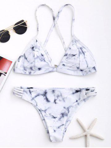 Affordable Marble Print Criss Cross Bikini Set - M GREY AND WHITE Mobile