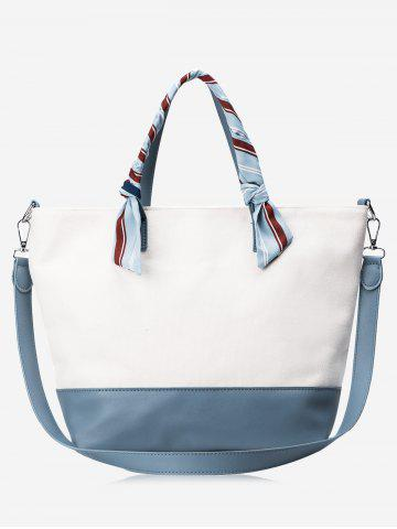 Affordable Faux Leather Color Block Ribbon Handbag BLUE AND WHITE