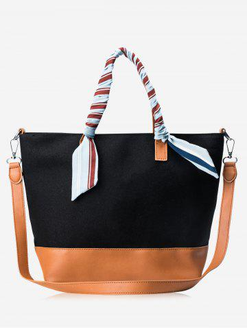 Outfit Faux Leather Color Block Ribbon Handbag - BLACK AND BROWN  Mobile