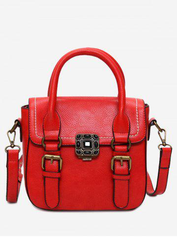 Online Metal Stitching Buckle Straps Tote Bag - RED  Mobile