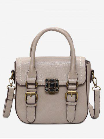 Cheap Metal Stitching Buckle Straps Tote Bag - KHAKI  Mobile