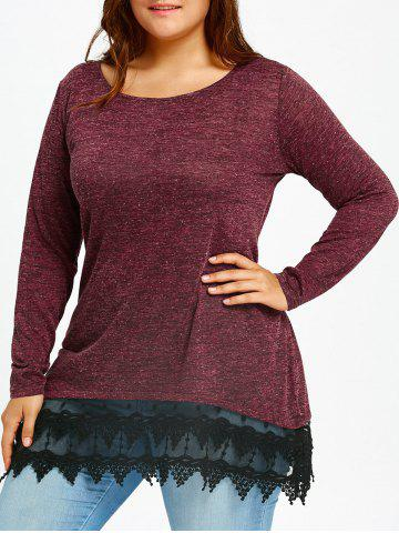 Fancy Lace Trim Plus Size Long Sleeve T-shirt - XL WINE RED Mobile