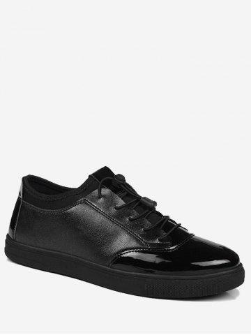 Latest Tie Up Bright Color Low Top Casual Shoes - 43 BLACK Mobile