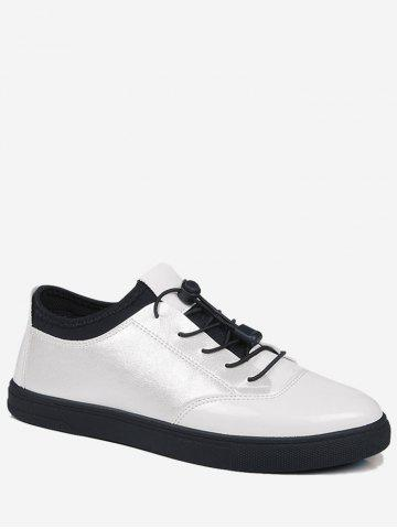 Hot Tie Up Bright Color Low Top Casual Shoes - 43 WHITE Mobile