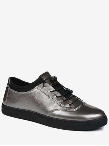 Hot Tie Up Bright Color Low Top Casual Shoes - 44 GUN METAL Mobile