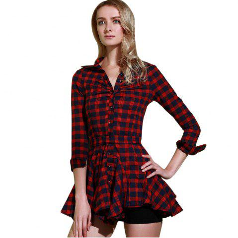 Outfits Checked Lace-Up Long Sleeve Dress - 2XL RED Mobile